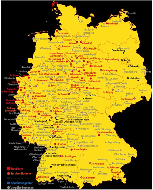 Landkarte Deutschland mit Standortkennzeichnung